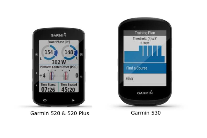 Front view of Garmin Edge 520 plus next to a Garmin Edge 530
