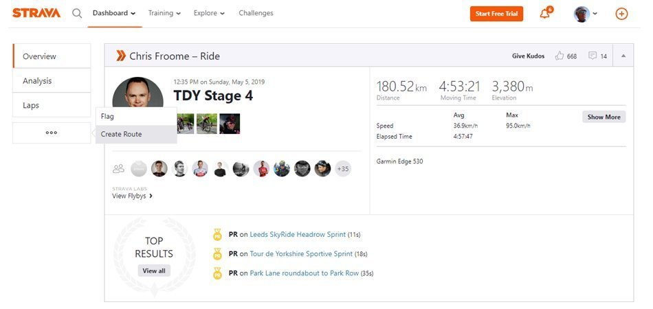 Strava Route Builder create route from friends activity