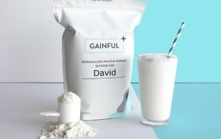 Bag of Personalised protein powder and drink