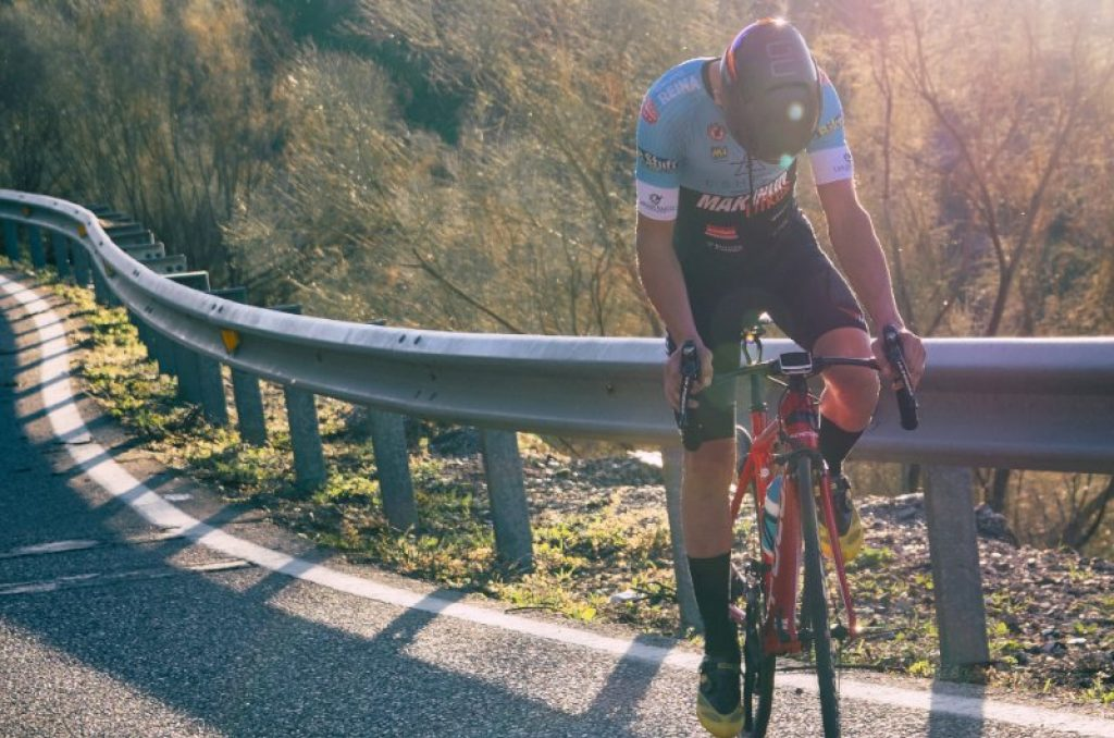 Road cyclist practicing mindfulness