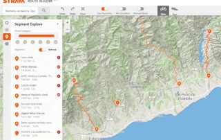 Strava route builder view showing segment explorer